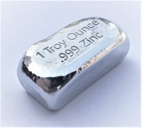 1 Troy Ounce .999 Fine Zinc Bullion Bar - No Logo