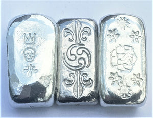 Three Piece Set - Zinc - Lead - Tin - 1 Troy Ounce .999 Fine Art Bars - Life - Turmoil - Death - 4 Sets Remain