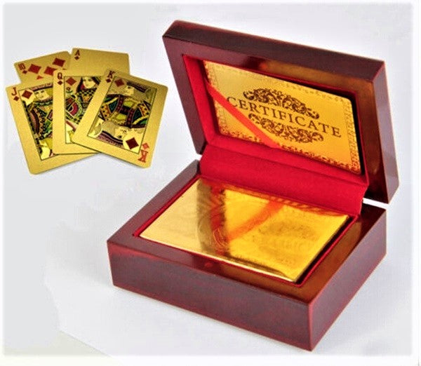 24K Gold Playing Cards in a quality wooden box with certificate of authenticity