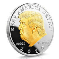 Silver and Gold Plated Donald Trump 2020 Souvenir Coin
