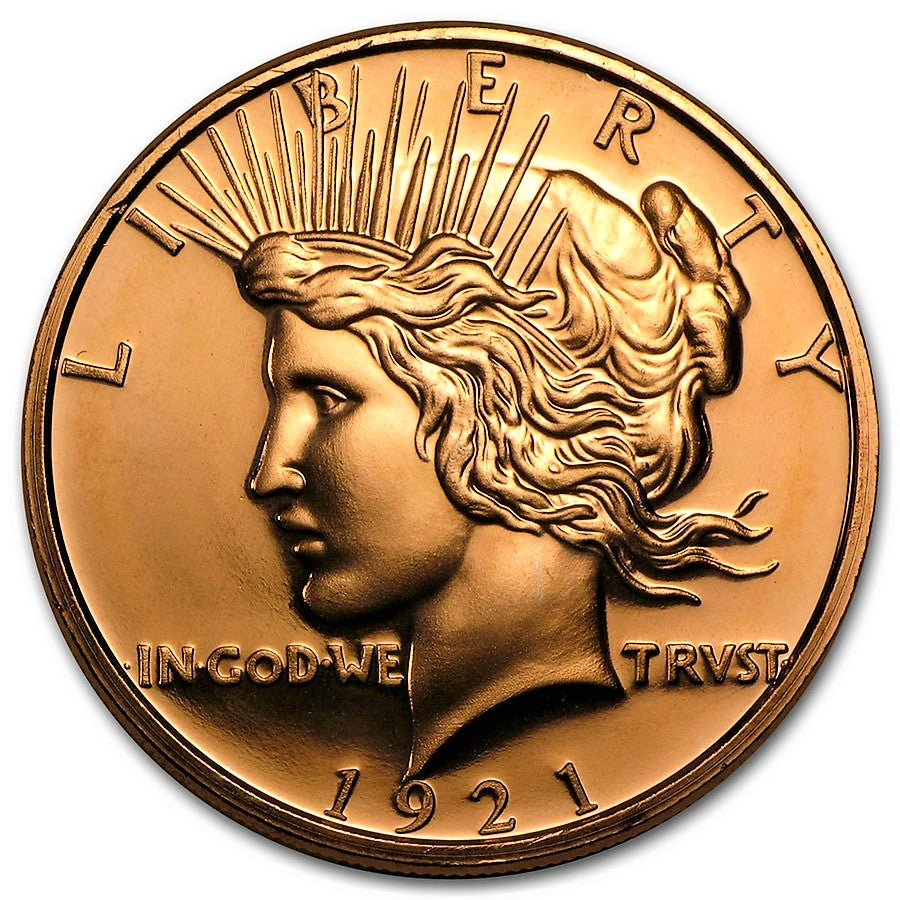 1 Ounce .999 Fine Copper Round - Peace Dollar