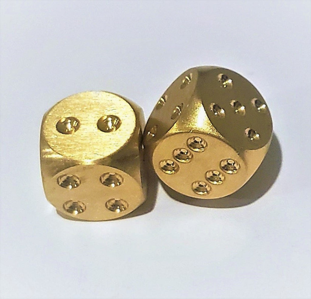 Set of 2 Solid Brass Dice