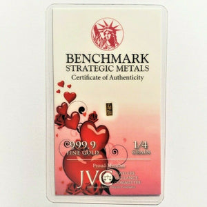 Hearts and Roses - 1/4 Grain .9999 Fine 24k Gold Bullion Bar In COA Card