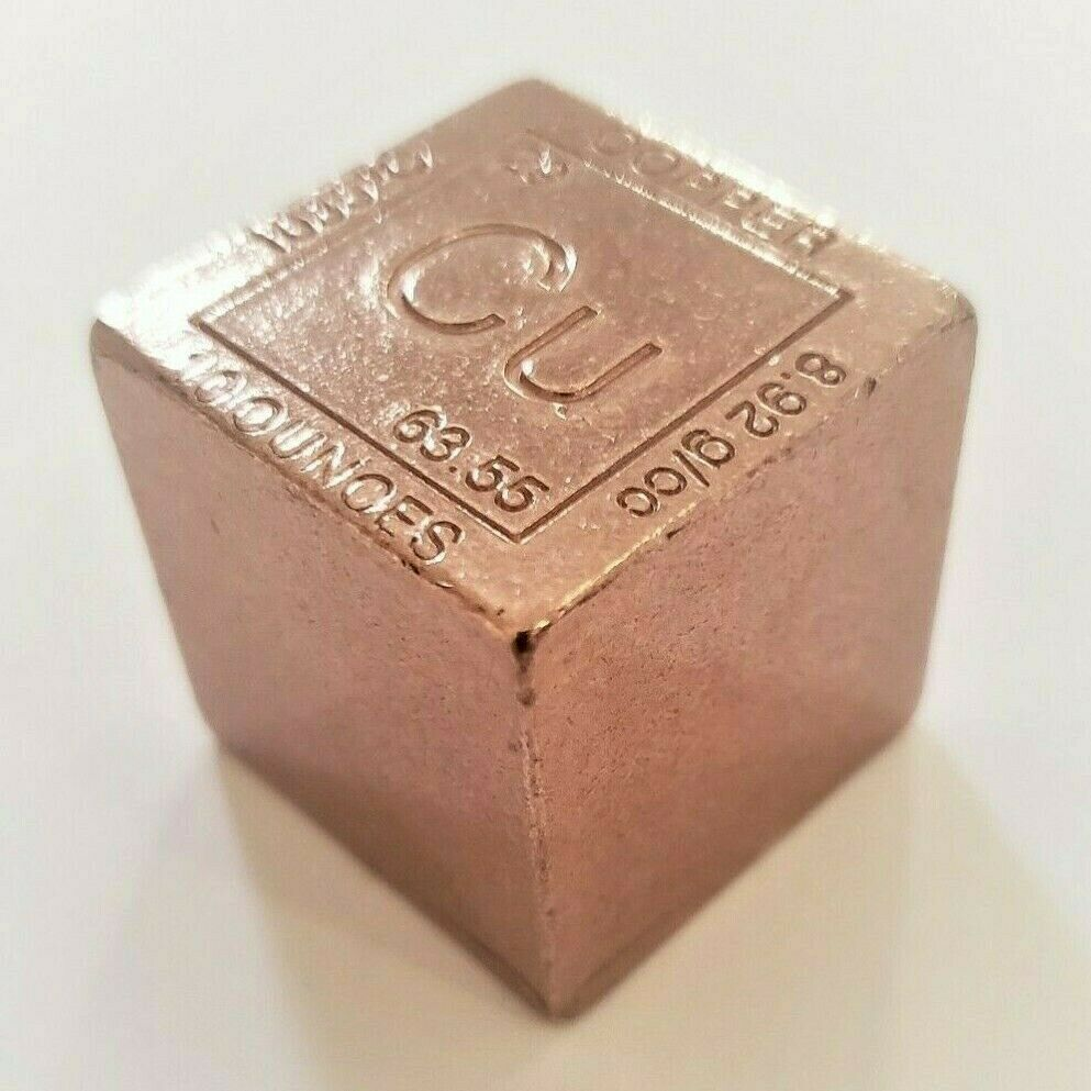 10 Ounce .999 Fine Copper Elemental Cube - 1.25'' x 1.25''