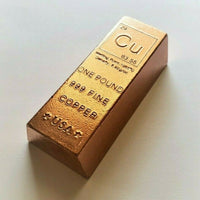 1 Pound .999 Fine Copper Loaf Bullion Bar