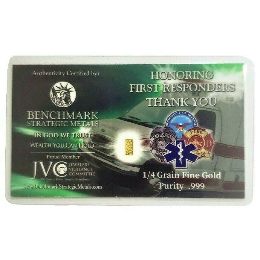 Thank You First Responders! - 1/4 Grain .9999 Fine 24k Gold Bullion Bar - in COA Card