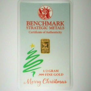 Merry Christmas - 1/2 Gram .999 Fine 24k Gold Bullion Bar