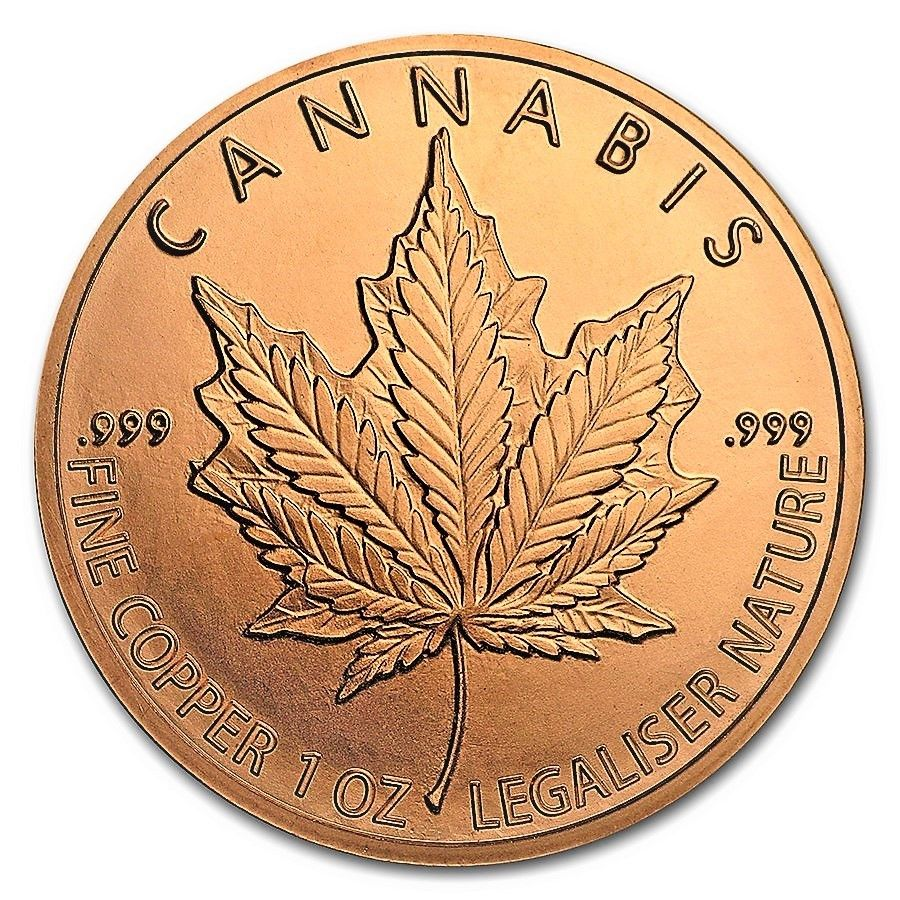 1 Ounce .999 Fine Copper Round - Cannabis Leaf