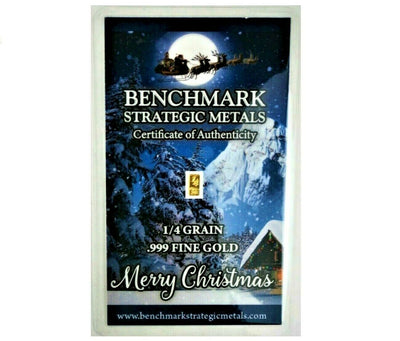 Merry Christmas Santa - 1/4 Grain .999 Fine 24k Gold Bullion Bar In COA Card