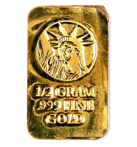 1/2 Gram .999 Fine 24k Gold Bullion Bar
