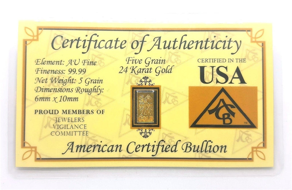 5 Grain .9999 Fine 24k Gold Bullion Bar