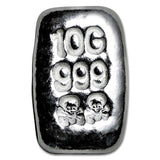 10 Gram .999 Fine Silver Bar - Skull & Cross Bones