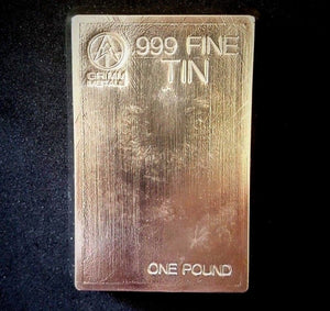 1 Pound .999 Fine Tin Bullion Bar
