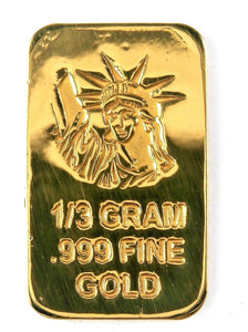1/3 Gram .999 Fine 24k Gold Bullion Bar