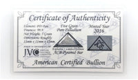 5 Grain .999 Fine Palladium Bullion Pyramid Bar