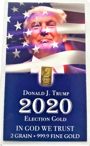 TRUMP 2020 - Limited Edition - 2 Grain .9999 Fine 24k Gold Bullion Bar - In COA Card