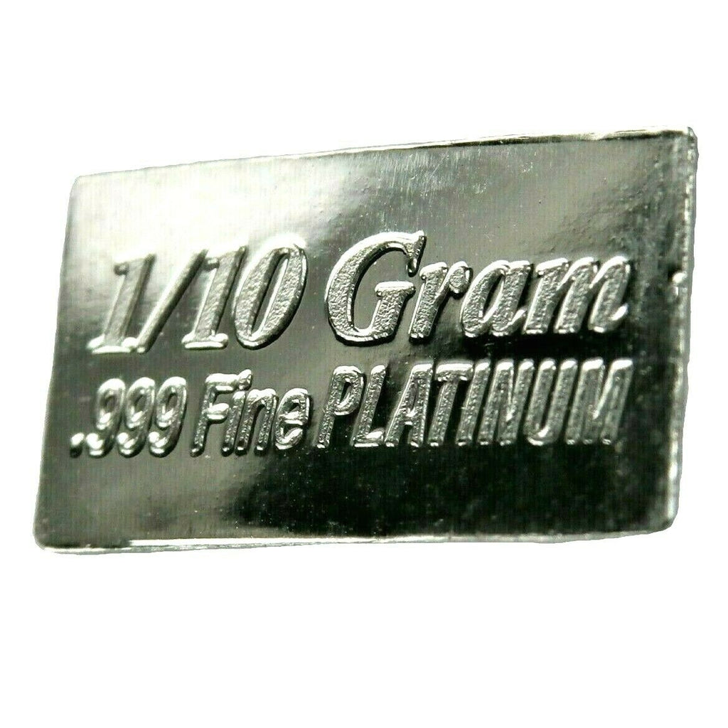1/10 Gram .999 Fine Platinum Bullion Bar