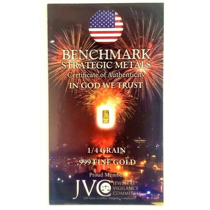 Fireworks - 1/4 Grain .999 Fine 24k Gold Bullion Bar In COA Card