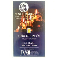 Happy Hanukkah! - 1/4 Grain .999 Fine 24k Gold Bullion Bar In COA Card