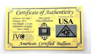 1 Grain .999 Fine Palladium Bullion Bar