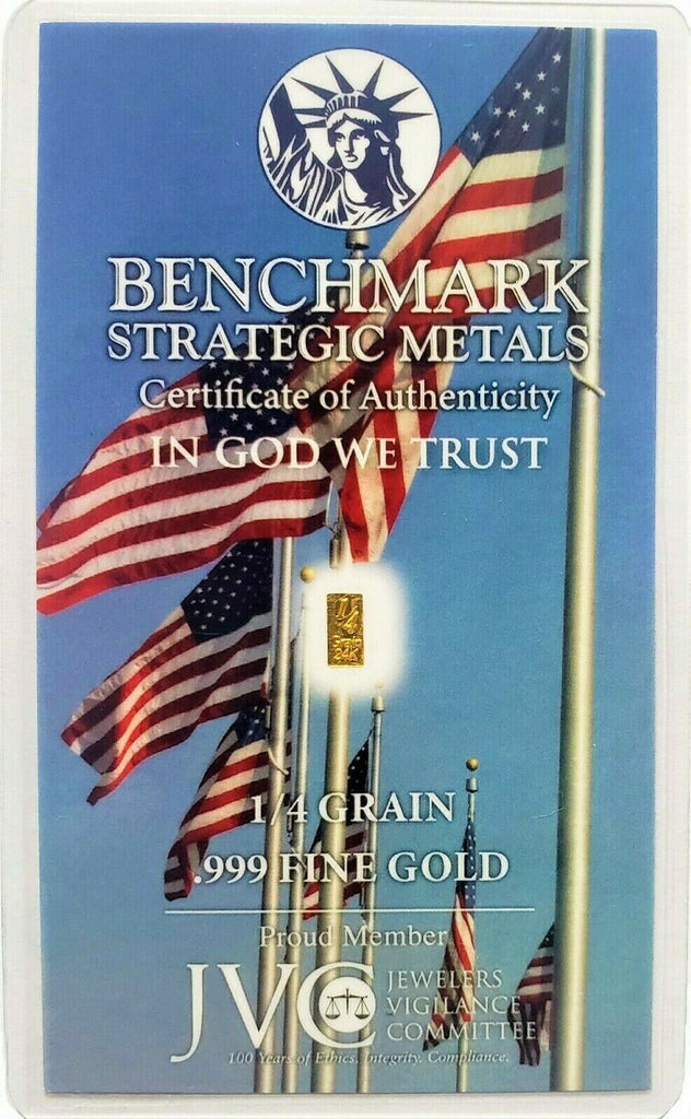 American Flag - 1/4 Grain .999 Fine 24k Gold Bullion Bar - In COA Card