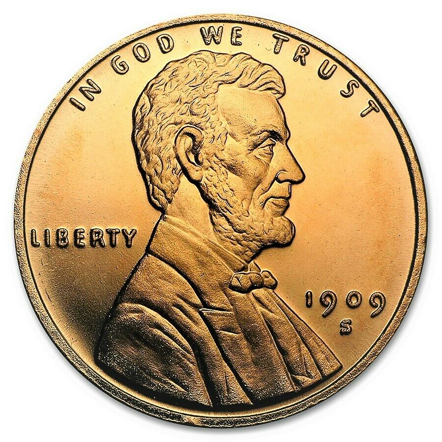 1 Ounce .999 Fine Copper Round - Lincoln Wheat Cent