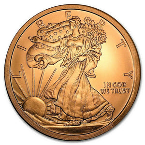 5 Ounce .999 Fine Copper Round - Walking Liberty