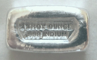 1 Troy Ounce .999 Fine Indium Bullion Bar - No Logo