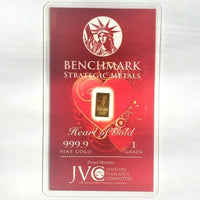 Heart of Gold - 1 Grain .999 Fine 24k Gold Bullion Bar In COA Card