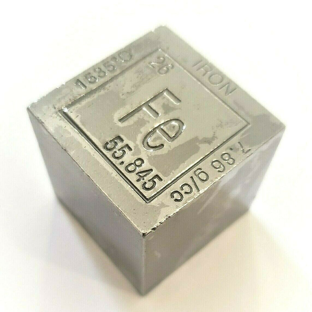 9 Ounce .999 Fine Iron Elemental Cube - 1.25'' x 1.25''