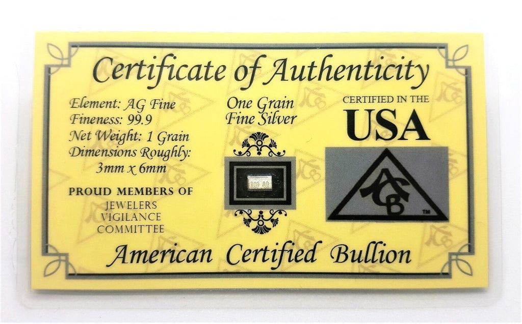 1 Grain .999 Fine Silver Bullion Bar