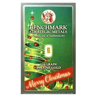 Merry Christmas - 1/4 Grain .999 Fine 24k Gold Bullion Bar In COA Card