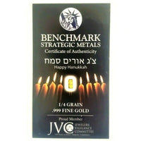 Menorah - Happy Hanukkah! - 1/4 Grain .999 Fine 24k Gold Bullion Bar In COA Card