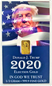 TRUMP 2020 - Limited Edition - 1/2 Gram .9999 Fine 24k Gold Bullion Bar - In COA Card