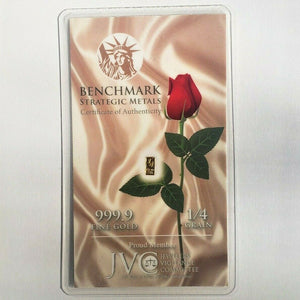 Satin Red Rose - 1/4 Grain .9999 Fine 24k Gold Bullion Bar In COA Card