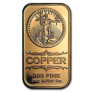 1 Ounce .999 Fine Copper Bar - Saint-Gaudens