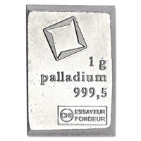 1 Gram .999 Fine Palladium Bullion Bar
