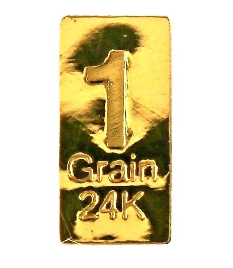 1 Grain .9999 Fine 24k Gold Bullion Bar