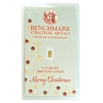 Merry Christmas Tinsel - 1/4 Grain .999 Fine 24k Gold Bullion Bar In COA Card