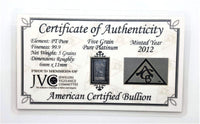 5 Grain .999 Fine Platinum Bullion Bar