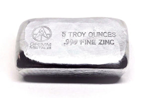 5 Troy Ounce .999 Fine Zinc Bullion Bar