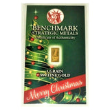 Merry Christmas - 1 Grain .999 Fine 24k Gold Bullion Bar In COA Card