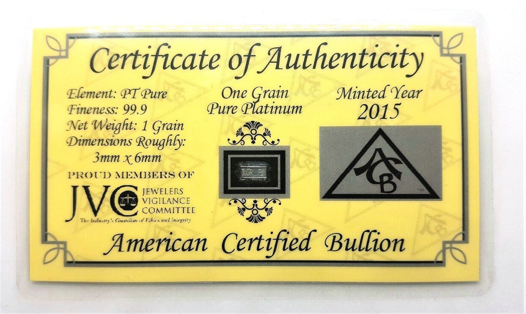 1 Grain .999 Fine Platinum Bullion Bar