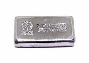 5 Troy Ounce .999 Fine Lead Bullion Bar