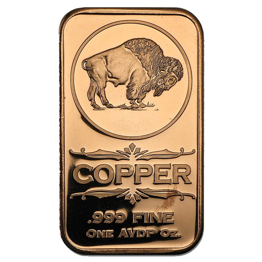 1 Ounce .999 Fine Copper Bar - Buffalo