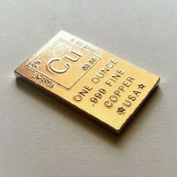 1 Ounce .999 Fine Copper Elemental Bullion Bar