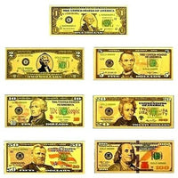Full Set - Gold Foiled Novelty Federal Reserve Notes - $1 $2 $5 $10 $20 $50 $100