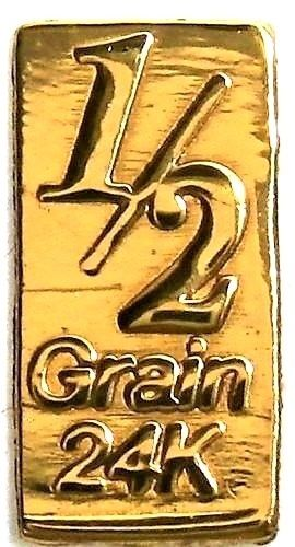 1/2 Grain .9999 Fine 24k Gold Bullion Bar