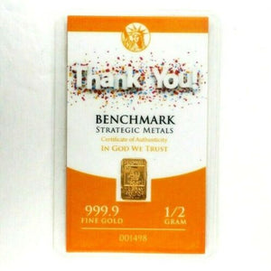 Thank You! - 1/2 Gram .999 Fine 24k Gold Bullion Bar