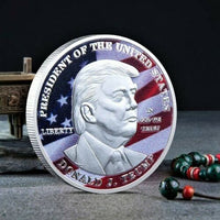 Colorized and Silver Plated Donald Trump Make America Great Again Souvenir Coin